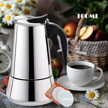 EEX Cafetera Italiana, Cafetera Moka Espressos en Acero Inoxidable 430, Conveniente para la Estufas de Gas,Cafetera Moka Clásica, Uso Doméstico y en la Oficina Plata 2 Taza/100ml: Amazon.es: Hogar