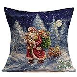 Zalanala 18 x 18 inch Merry Christmas Linen Santa Throw Pillow Cases Sofa Cushion Covers Bed Sofa Car Home Decoration