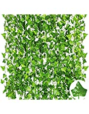 82 FT/12 Pack Artificial Vine, Fake Vines for Bedroom Faux Fake Ivy Leaves for Thanksgiving Table Decor Fall Wedding Party Backdrop Balcony Garden Garland Leaves Decorations (12)