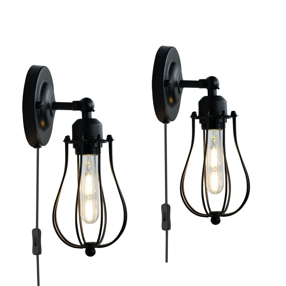 Cage Wall Sconces Industrial Wall Lamp Plug in Cord with Switch Bulb Included Set of 2