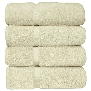 Luxury Hotel & Spa Bath Towel 100% Genuine Turkish Cotton, Set of 4 (Cream)