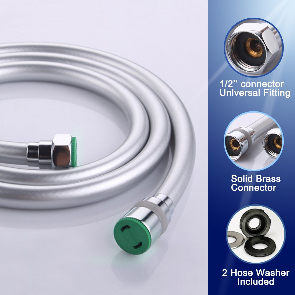 EMBATHER Shower Hose 71 Inches 6 Ft, 1.80 Meters Extra Long Non-Toxic PVC Flexible Handheld Shower Head Hose Handheld Showerhead Sprayer Extension and Replacement