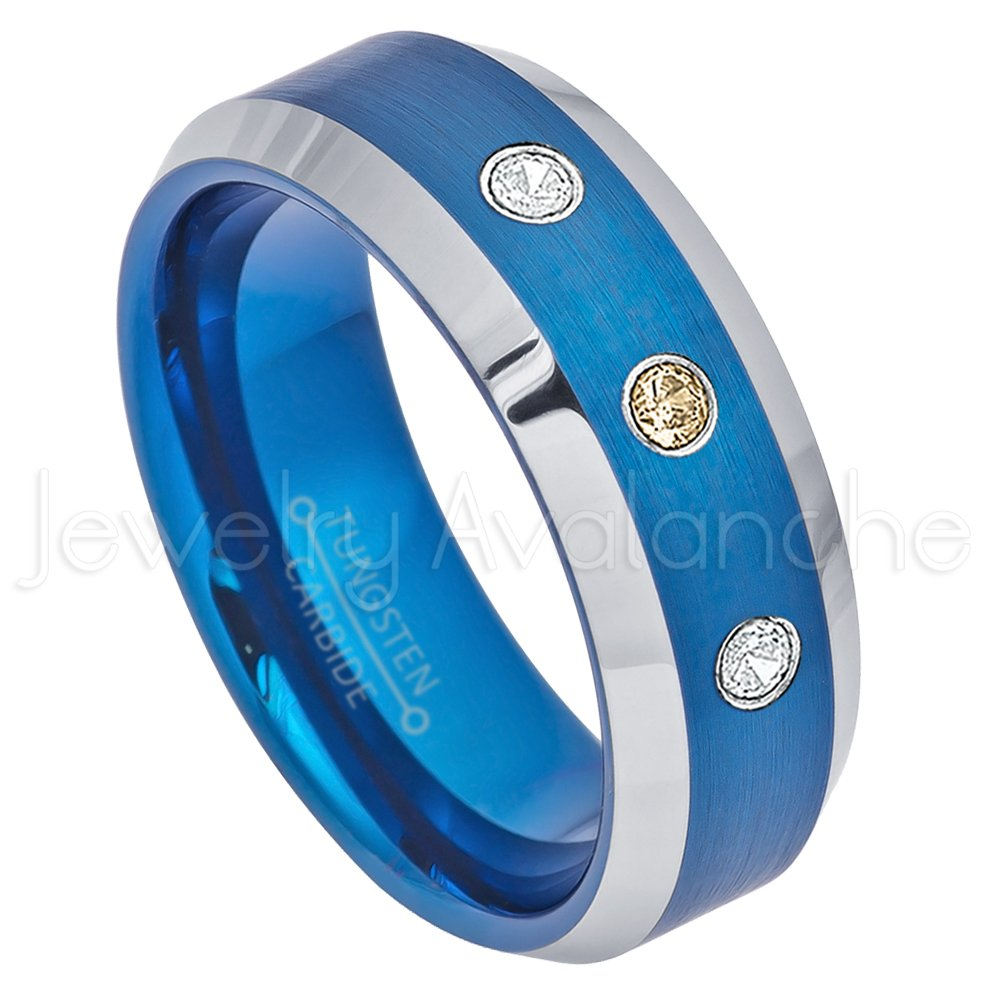 Anniversary Ring Brushed Gunmetal Center 2-Tone Comfort Fit Mens Tungsten Carbide Wedding Band September Birthstone Ring 0.21ctw Blue Sapphire 3-Stone Tungsten Ring