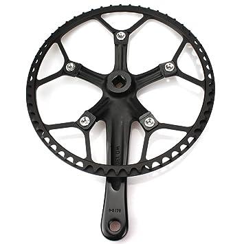 Bicicleta plegable Bielas (platos 56T 130 BCD LitePro sola velocidad manivela juego con funda protectora para de velocidad única pista bicicleta plegable ...