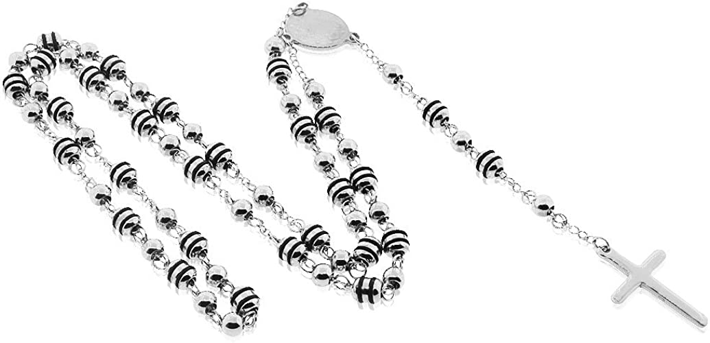 """EDFORCE Stainless Steel Silver-Tone Cross Virgin Mary Rosary Beads Necklace 18/"""""""