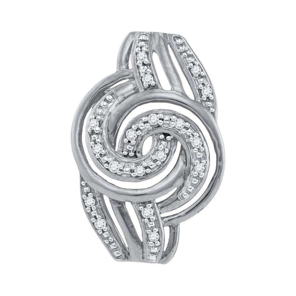 Diamond Concentric Swirl Pendant 1//20ct 10k White Gold