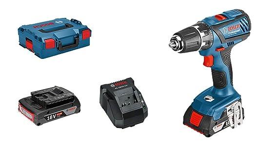Bosch Professional Perceuse-Visseuse sans-Fil GSR 18-2-LI Plus (2 Batteries de 2,0 Ah, Chargeur Rapide, L-BOXX, 18 V, Couple Maxi : 63 Nm, Ø de Vissage Maxi : 8 Mm)