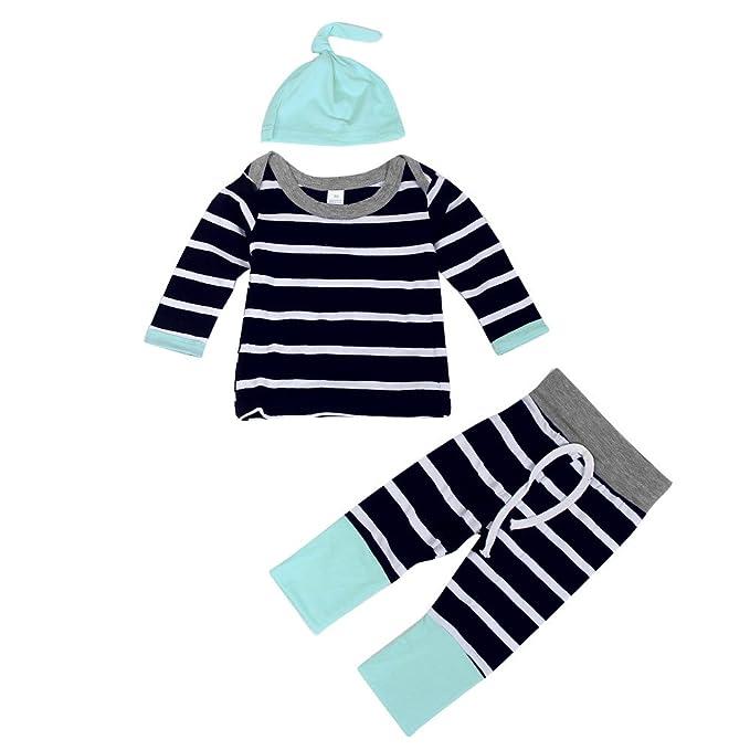 YanHoo Ropa para niños Los Pantalones de Camiseta de Rayas Infantiles Sombrero Traje de Tres Piezas Clothes Stripe Camiseta de Manga Larga Tops + Long Pants ...