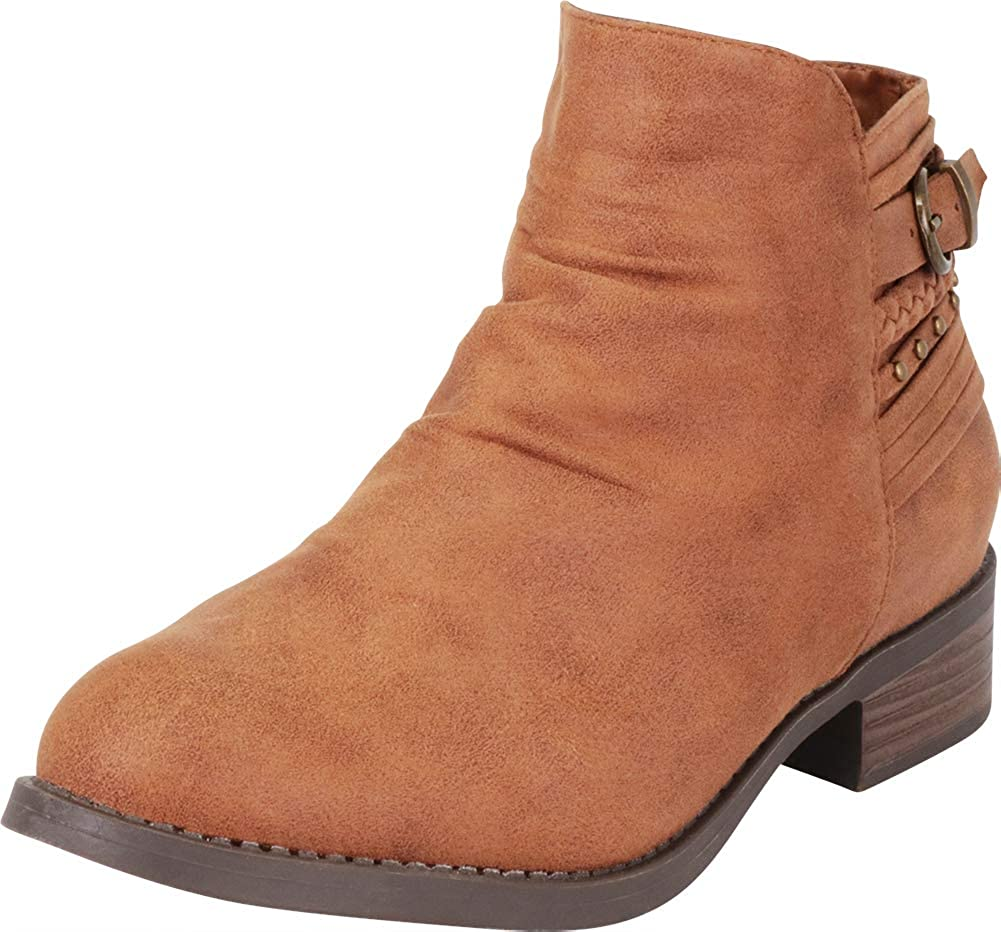 Camel Imsu Cambridge Select Women's Slouch Strappy Braid Studded Low Chunky Heel Ankle Bootie