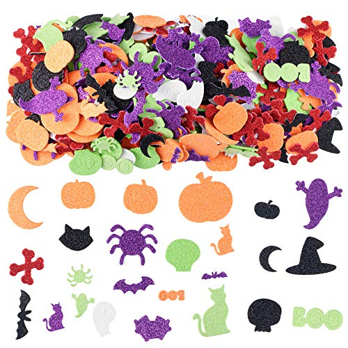 Best Halloween Craft Supplies (XADP 500 PCS Assorted Halloween Glitter Foam Craft Stickers Self-Adhesive Shapes Craft Supplies Scrapbooking Party Supplies Party Decoration Stickers for)