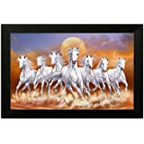 SAF 6802 7 lucky running horses Framed Synthetic Wall Art Paintings (Wood, 35cm x 2Cm x 50Cm framed painting)