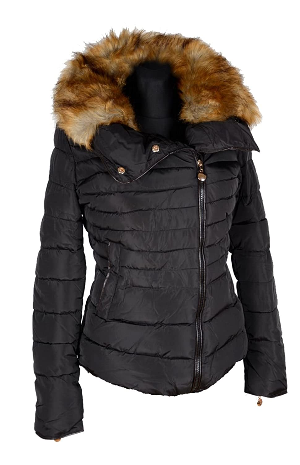 damen winterjacke steppjacke pelz fell volants kragen ballon winter parka jacke kurz mantel 36. Black Bedroom Furniture Sets. Home Design Ideas
