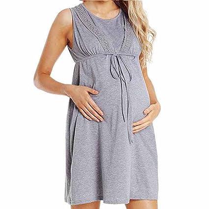 74bc89c82cfad Amazon.com: Toponly Breastfeeding Nursing Baby Dress For Maternity Womens  Pregnancy Care Wrap High Waist Lace Bow Pregnants Sleeveless Casual Pajamas  Dress: ...