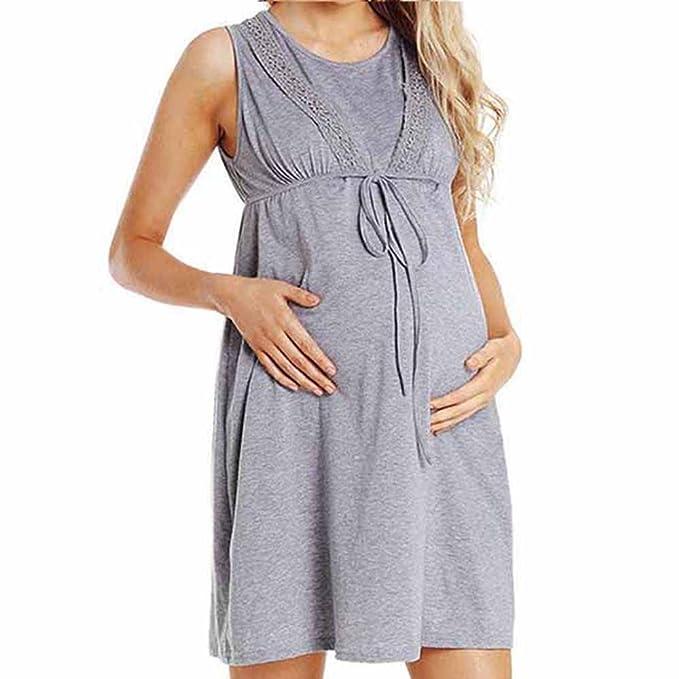 Gusspower Vestido de Mujer para Maternidad, Camisón de Noche para estancias en Hospital, Camisón de Noche para amamantar: Amazon.es: Ropa y accesorios