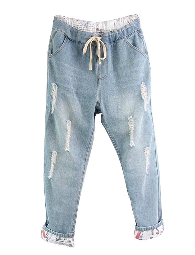 Anguang Mujer Boyfriend Vaqueros Ajuste Suelto Pantalones Jeans Haremjeans con Cordón