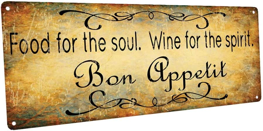 OMSigns Bon Appetit Food for The Soul Wine for The Spirit Metal Sign, Bar Decor, Country Decor, Kitchen Decor