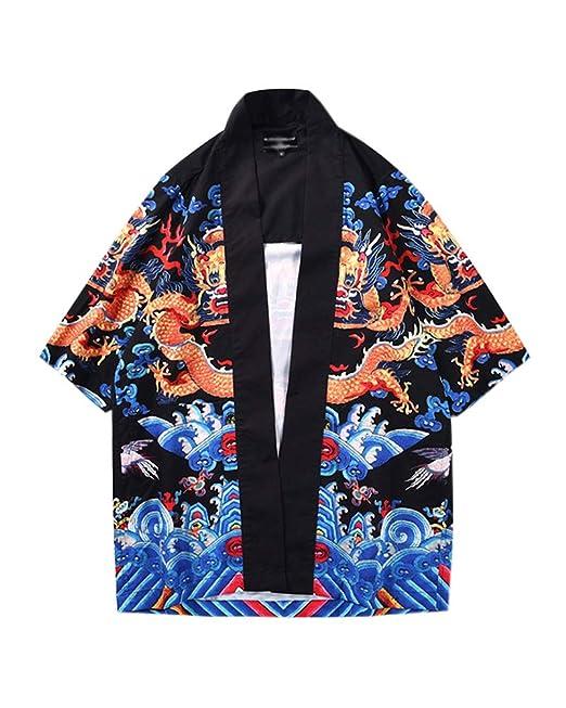 Cárdigan De Hombres Estampado Holgado Chaqueta De Kimono ...