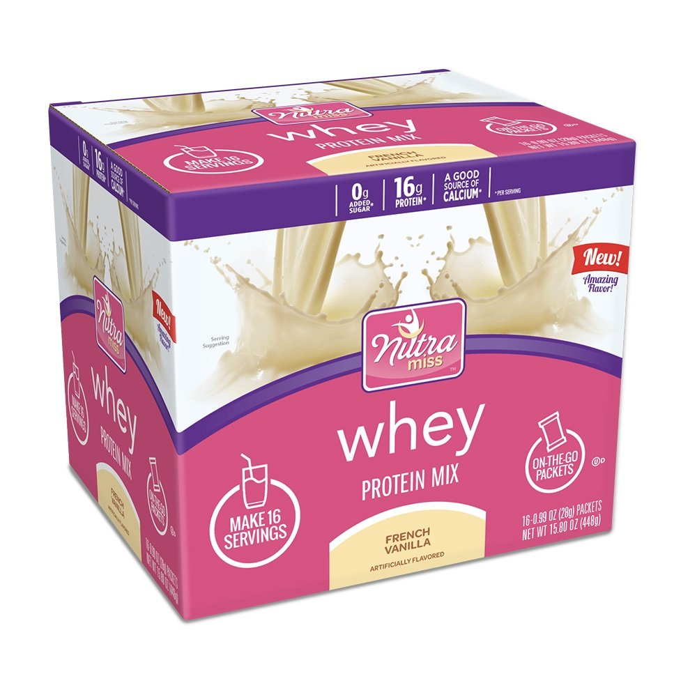 Nutramiss Whey Protein Mix, Single Serve Packets, French Vanilla, 16 Count
