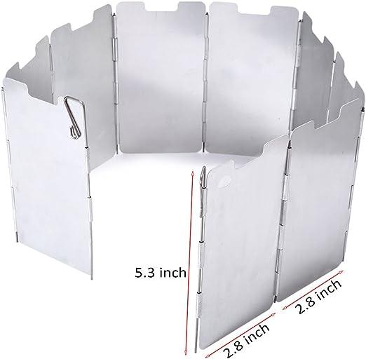 Estufa de gas plegable con protección contra el viento, 9 platos ...