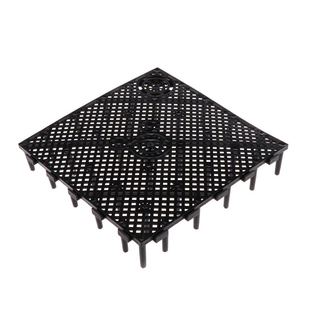 LANDUM Aquarium Fish Tank Under Gravel Bottom Filtration Plate Board Filter System Black 15x15x2.8 cm