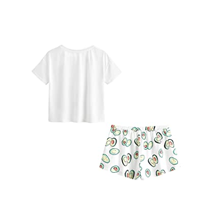 a936eb5723a5 ... DIDK Women s Cute Cartoon Print Tee and Shorts Pajama Set White M ...