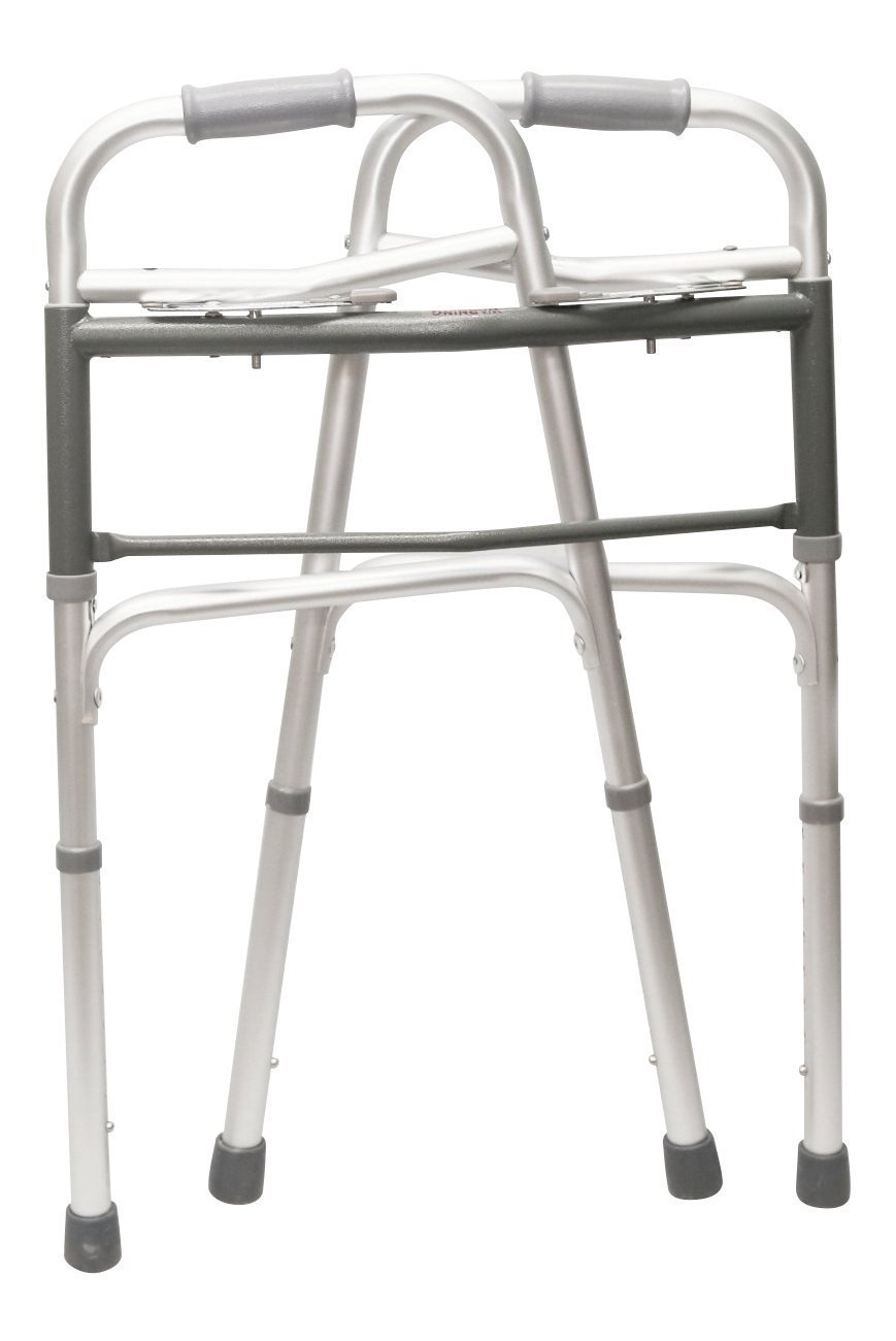 HEALTHLINE Walker Folding Deluxe 2 Button Without Wheels, Lightweight Foldable Mobility Walker No Wheels for Adult Seniors Disabled, Adjustable Height for Short, Average and Tall People by HEALTHLINE