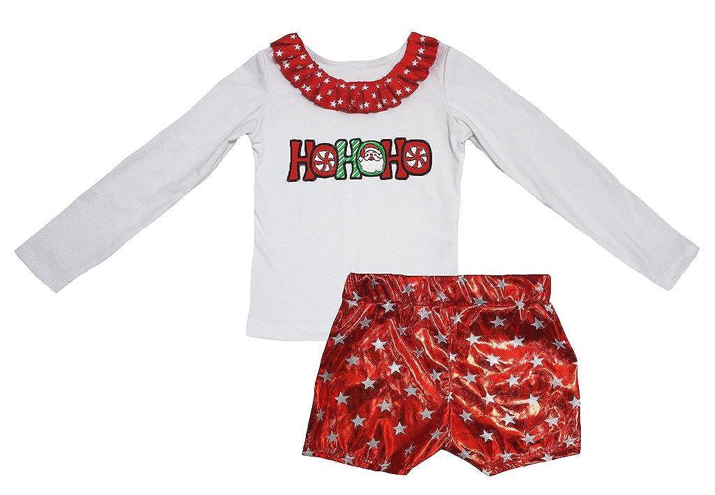 Petitebella Neck Ruffles White Cotton L//s Shirt Stars Red Bling Skirt Set 1-8y