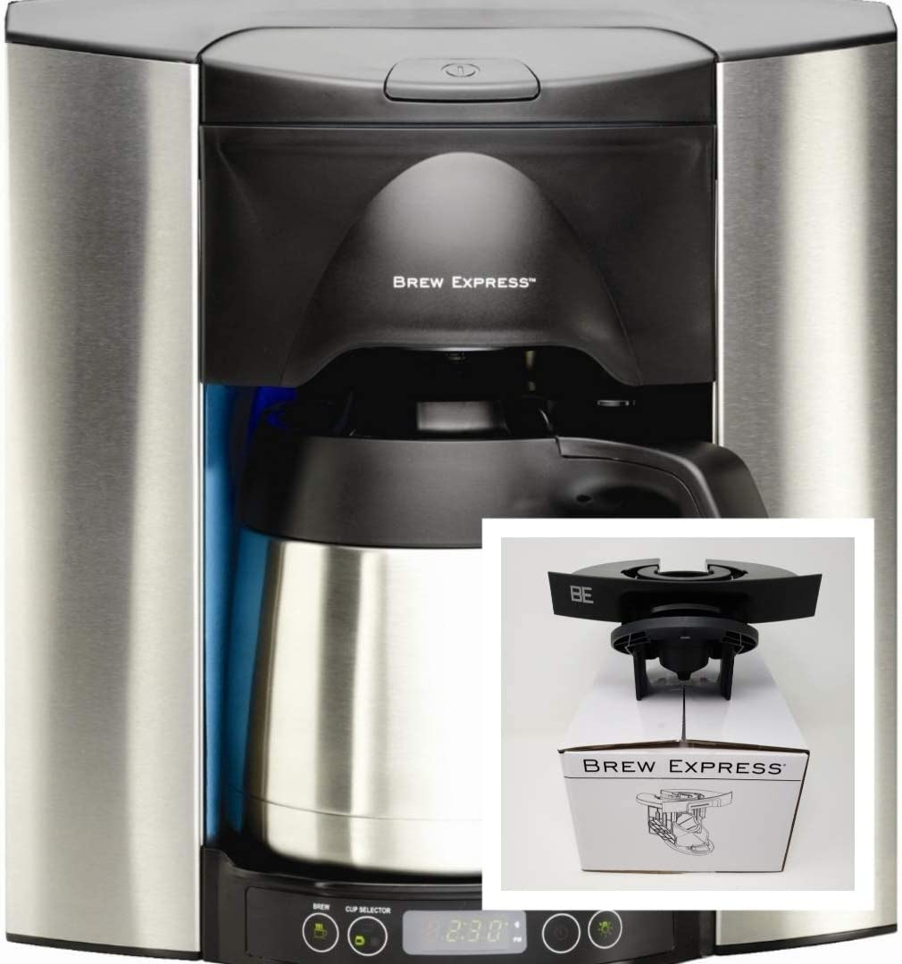 Brew Express Programmable Recessed Coffee Maker Stainless 10c with Single Shot Basket for K-Cups