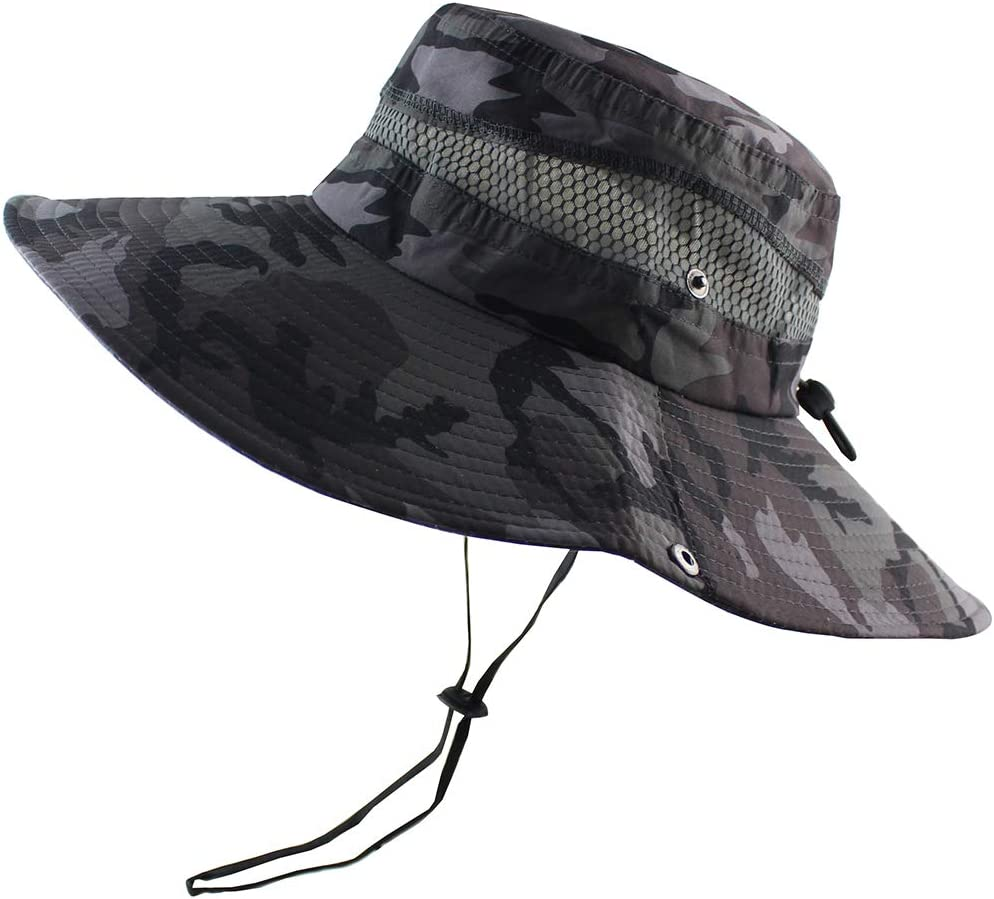 CAMOLAND Breathable Wide Brim Boonie Hat Outdoor UPF 50 Sun Protection Mesh Safari Cap for Travel Fishing