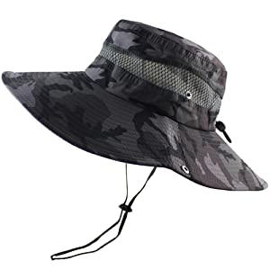 CAMOLAND Breathable Wide Brim Boonie Hat Outdoor UPF 50+ Sun Protection Mesh Safari Cap for Travel Fishing