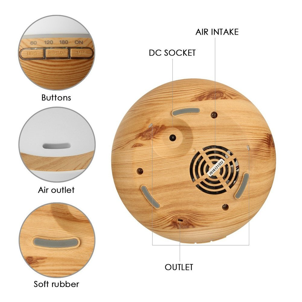 TRADE Yellow Wood Grain Ultrasonic Spray 7 Color Changing Waterless Auto off Perfect Night Companion 300ML Essential Oil Aromatic Air Diffusion Roundness Beauty Humidifier by TRADE® (Image #2)