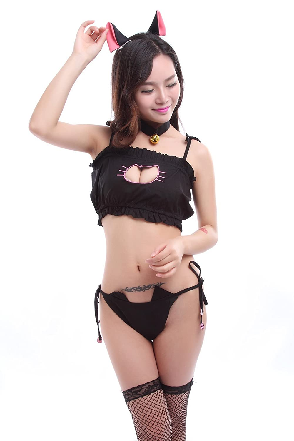0196da87e17 Amazon.com  Nuoqi Anime Cute Cat Cosplay Costume Sexy Maid Embroidary Lingerie  Underwear Sleepwear  Clothing
