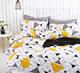How Big Is a California King Bed SUSYBAO 3 Pieces Duvet Cover Set 100% Natural Cotton King Size White Triangle Pattern Bedding Set 1 Duvet Cover 2 Pillowcases Luxury Quality Soft Breathable Durable Comfortable with Zipper Ties