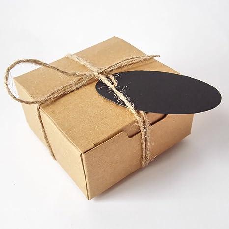 50pcs Jabón de regalo Craft cartón Caja de papel de estraza con cáñamo y etiquetas