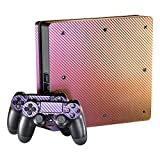 eXtremeRate® Purple and Gold Chameleon Full Faceplates Skin Console & Controller Decal Covers for PlayStation 4 PS4 Slim