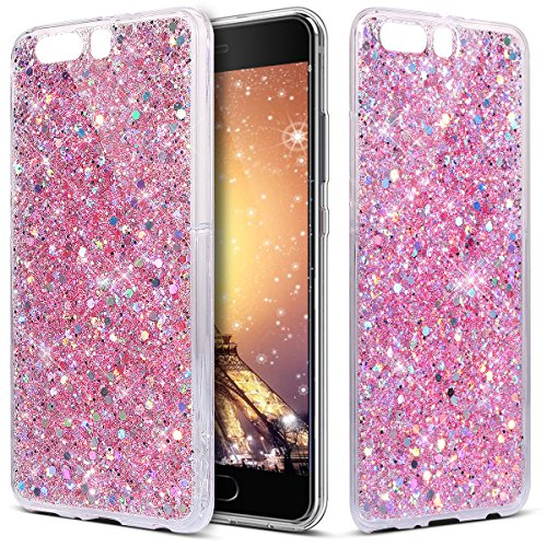 Bead Brown Lip Shell (Huawei P10 Plus Case, ihrees Bead glitter TPU shell Bumper [Drop Protection/Shock Absorption Technology] For Huawei P10 Plus-Pink)