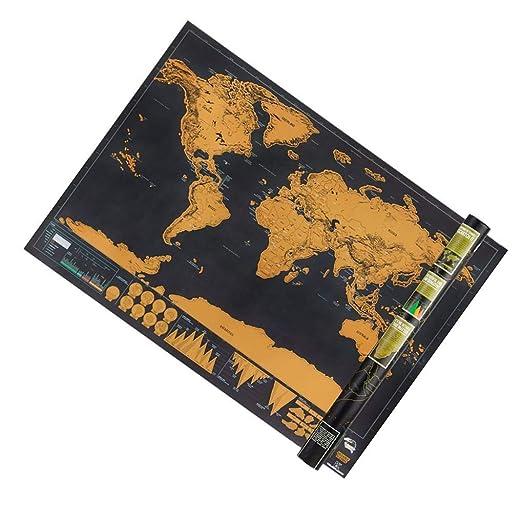 Poualss Cartel del Mapa del Mundo, Mini Rasguño del Mapa del ...