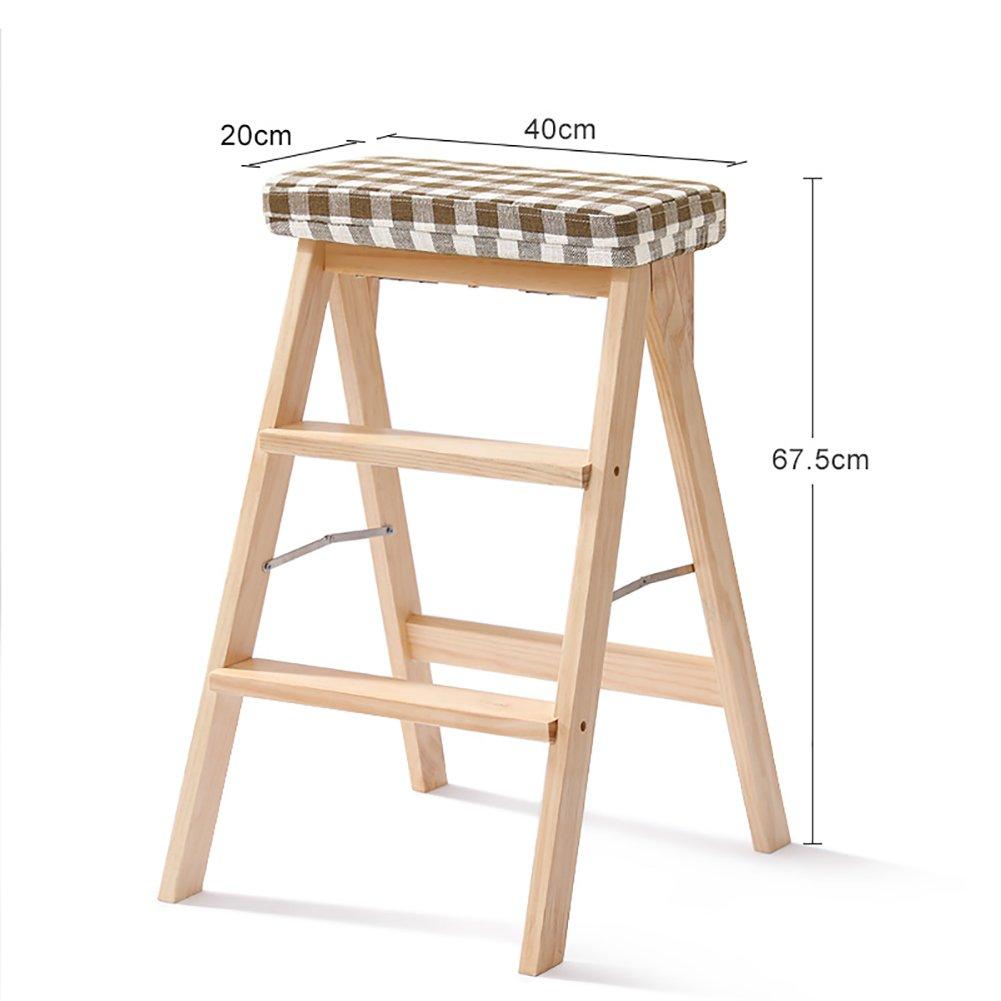 YXX- キッチン木製ステップスツールラダー大人用ソリッドウッド折りたたみ踏み台ポータブルフォールドアップフットスツール多機能スツールベンチ (色 : 木の色, サイズ さいず : #4) B07F668HBY #4|木の色 木の色 #4