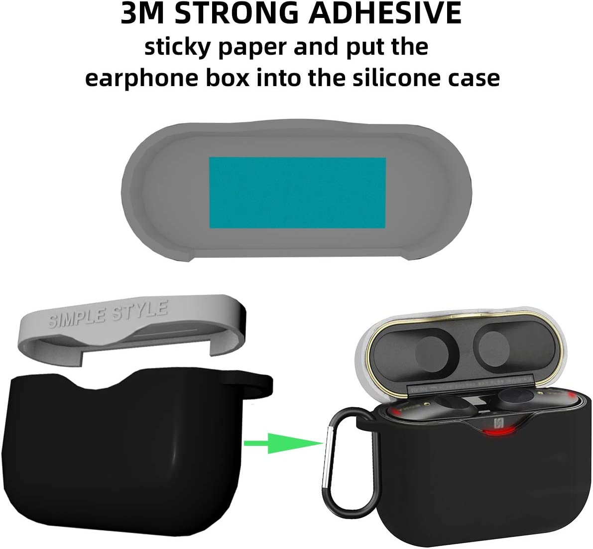 Front LED Visible Red+Red WQNIDE-Soft Silicone Carrying Case Cover for Sony WF-1000XM3 Wireless Earbud Protective Skin Cover with Carabiner for Truly Wireless Noise Canceling Earphone