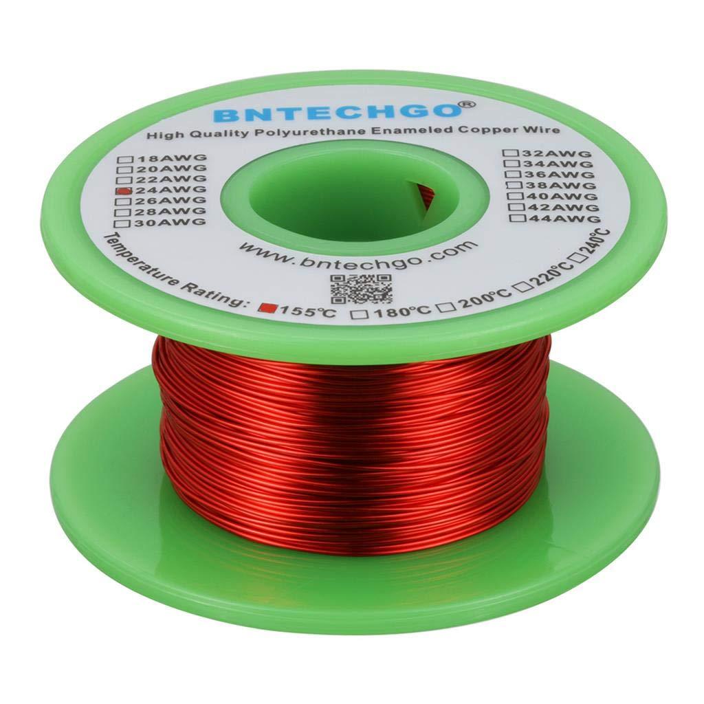 BNTECHGO - Cable magné tico 24 AWG (alambre de cobre esmaltado, 113 g, 0,053 cm de diá metro), color rojo 053 cm de diámetro) bntechgo.com