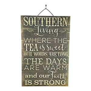 "Imprints Plus Southern Living Inspirational Distressed Wood Sign, 12"" x 18"" Rustic Home Decor Plaque with Hanger Bundle 45-01614"