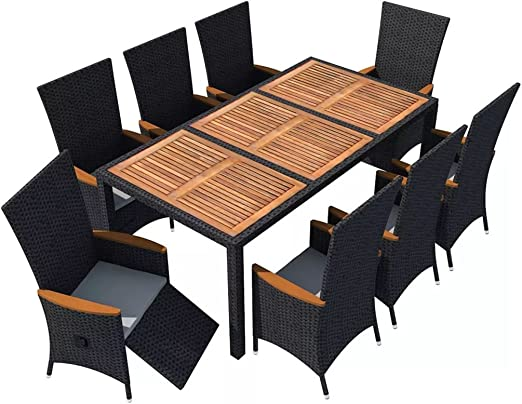 vidaXL Juego de Muebles de Jardín 9 Piezas Conjutno de Mesas y Sillas de Comedor Patio Exterior Poli Ratán Sintético Negro y Acacia: Amazon.es: Hogar