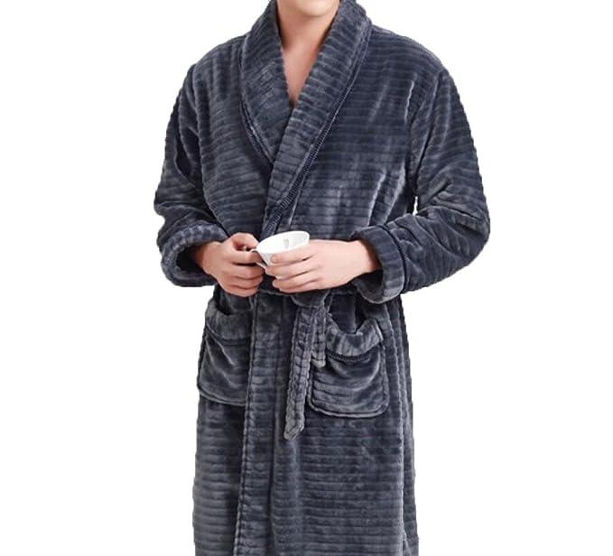Pajamas Otoño E Invierno Espesamiento Hombres Calientes Pijamas Franela De Solapa Mangas Largas Manto De Servicio