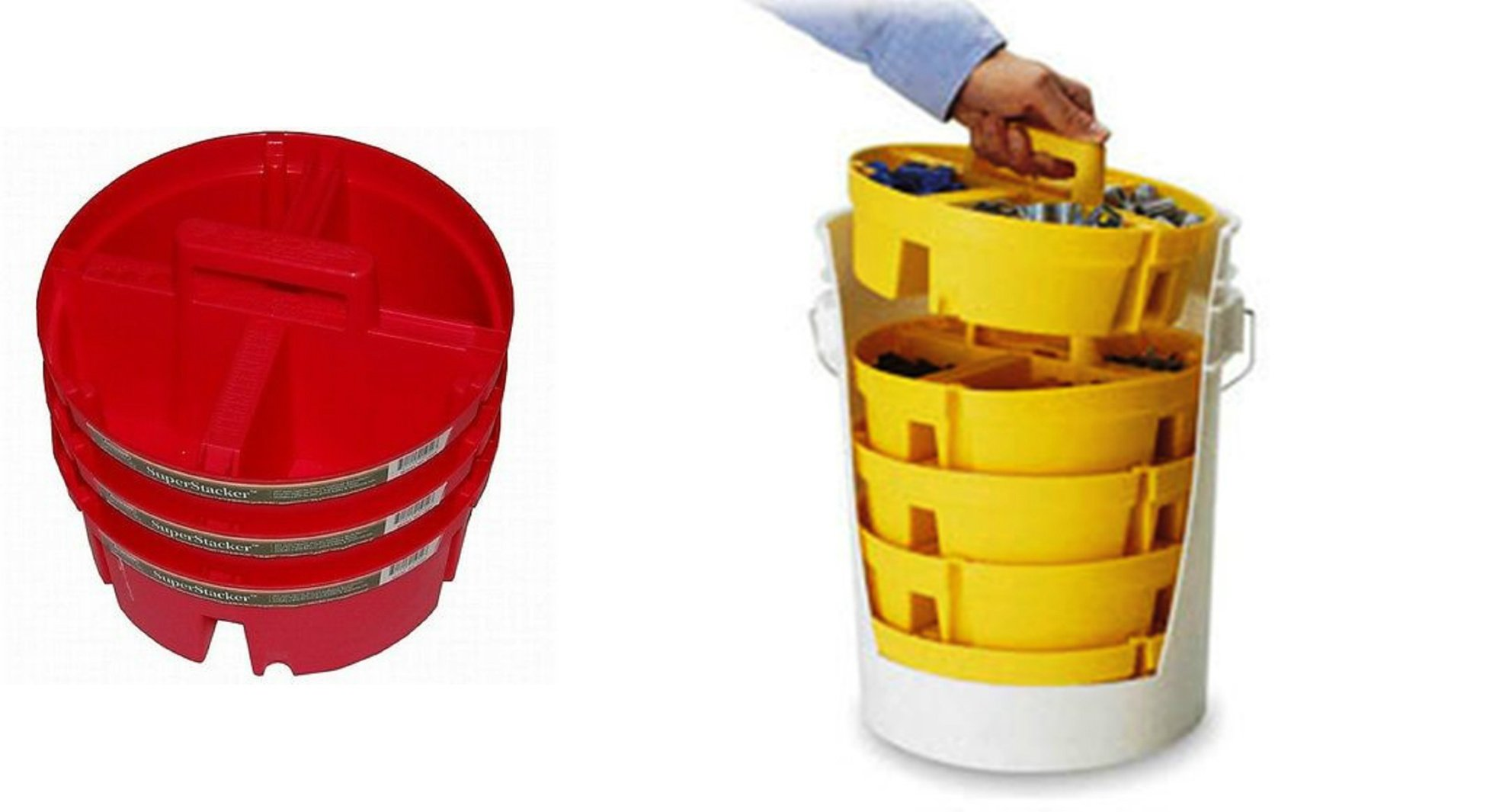 Set of 3 Bucket Boss Red Extra Deep Superstacker + 4 Yellow Bucket Stackers - 2 Pails organization Kit - For 5 Gal Buckets