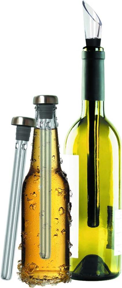 Original Regalo Enfriador de Vino y Cerveza Set de 2 - Accesorios Aireador y Vertedor, En Botella Mejor que Funda o Cubitera - Idea Día del Padre y St Patrick, Ideal Papa Hombre Novio Pareja Amigo Fri