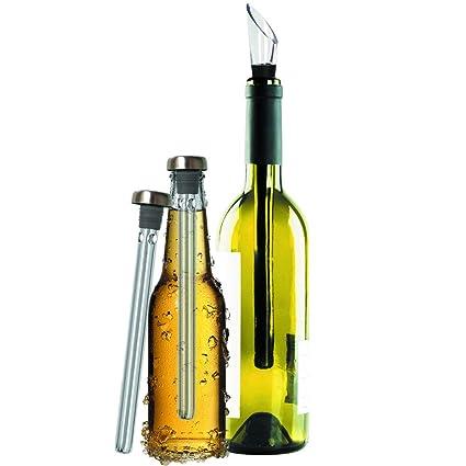 Original Regalo Enfriador de Vino y Cerveza Set de 2 - Accesorios Aireador y Vertedor, En Botella Mejor que Funda o Cubitera - Idea Día del Padre St ...