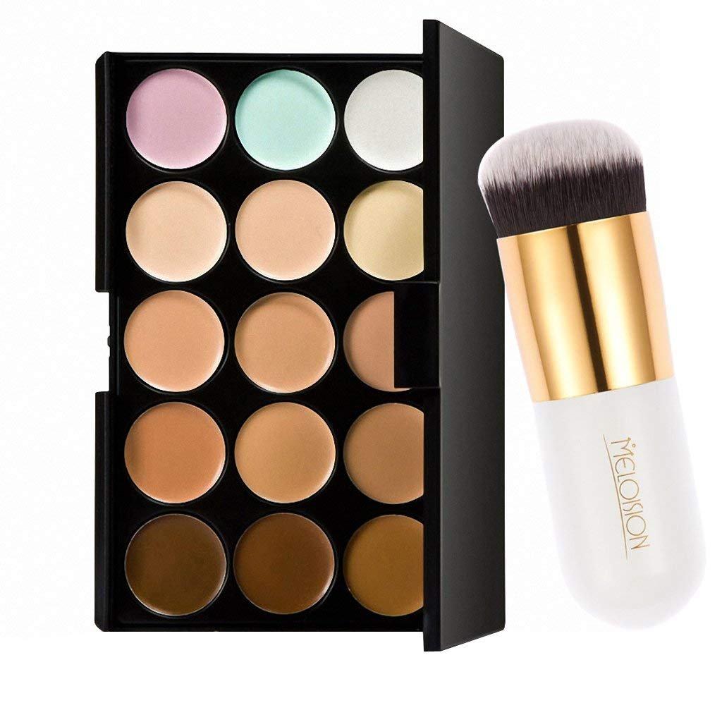 Pro 15colori contorno viso crema trucco Concealer Palette con polvere Wilk