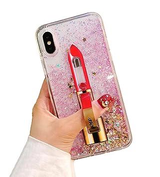 84ddffb339 iPhone 8 ケース きらきら 流れ砂ハート 口紅スタンド指リング 多機能 オシャレ創意液体