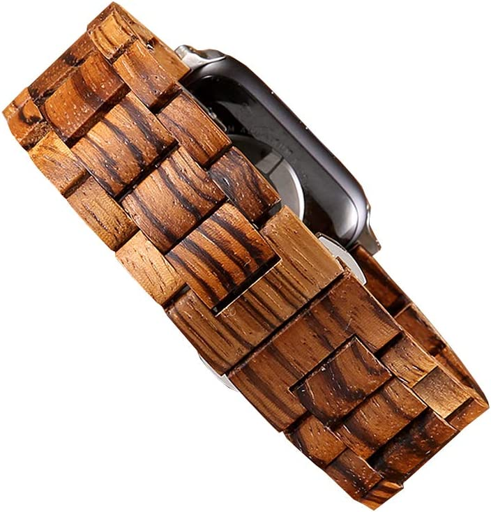 Makani Wooden Watch Band Compatible for Apple Watch Made with Zebra Wood (42mm/44mm)