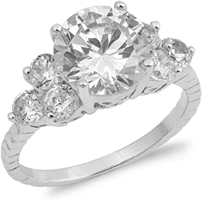 CloseoutWarehouse Round Cubic Zirconia Center Solitaire Ring Sterling Silver